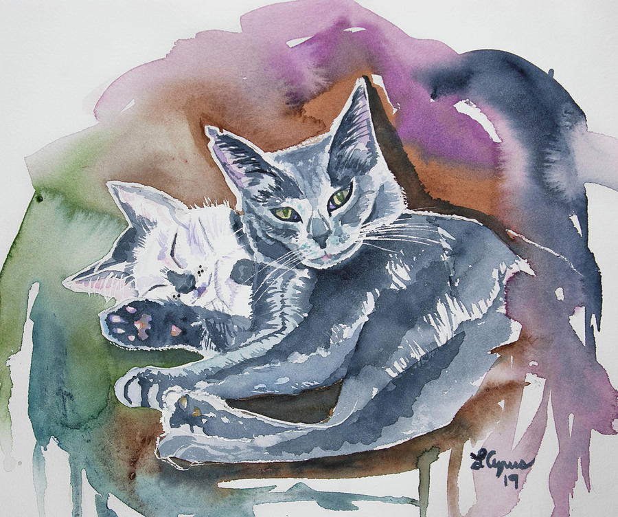 Cat Painting - Watercolor - My Two Cats by Cascade Colors