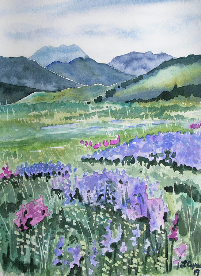 Watercolor - North Table Mountain Spring Landscape by Cascade Colors