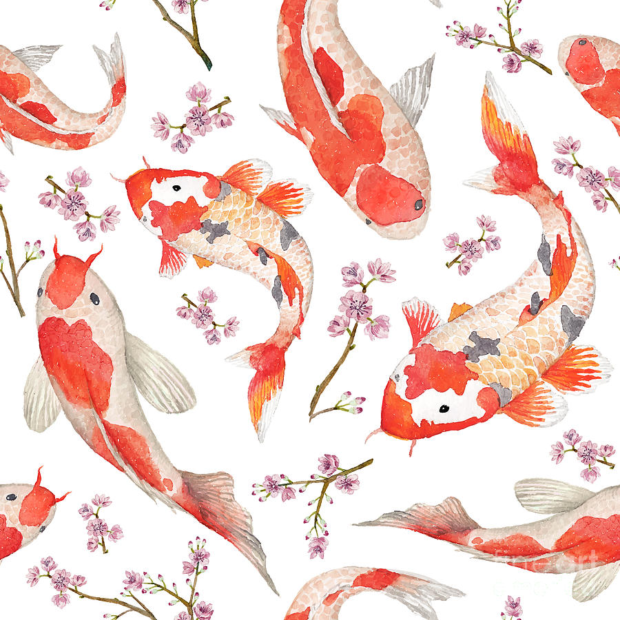 Koi Digital Art - Watercolor Oriental Pattern With by Eisfrei