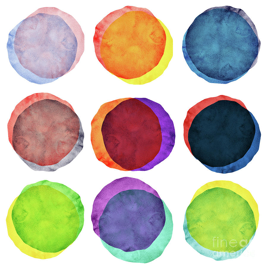 Watercolor Painted Circles Various Photograph by Momentousphotovideo