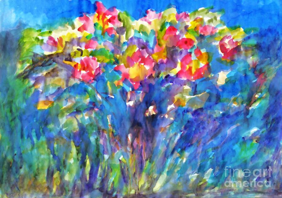 Watercolor painting. Flowering rose bush. by Irina Dobrotsvet