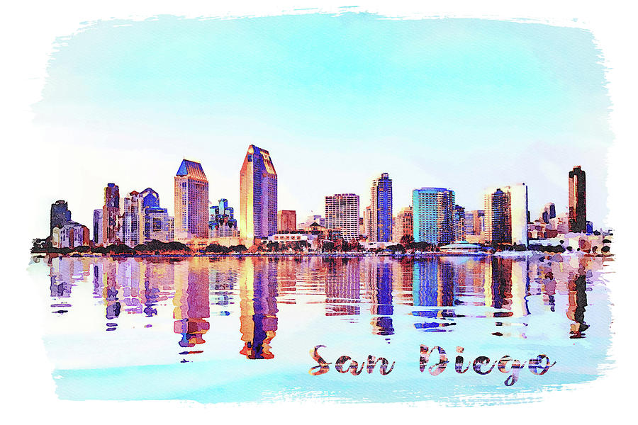 Watercolor Painting Of San Diego Skyline At Sunset From Coronado Digital Art By Steven Heap