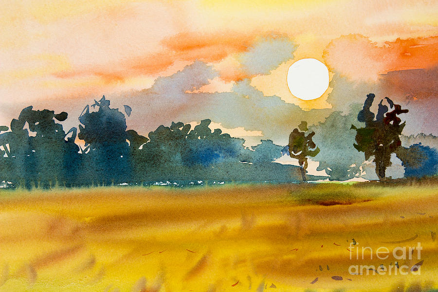 Shadow Digital Art - Watercolor  Painting Original Landscape by Painterstock