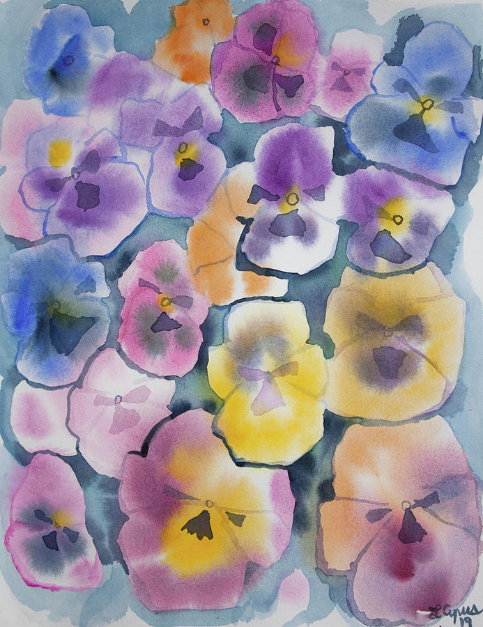 Pansy Painting - Watercolor - Pansy Design by Cascade Colors
