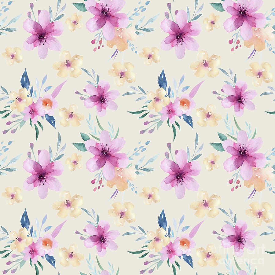 watercolor pastel floral by Sylvia Cook