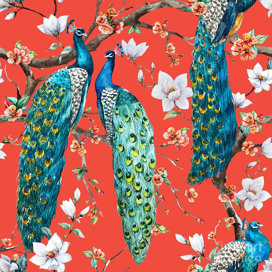 Love Digital Art - Watercolor Pattern Peacock Lover by Anastasia Lembrik