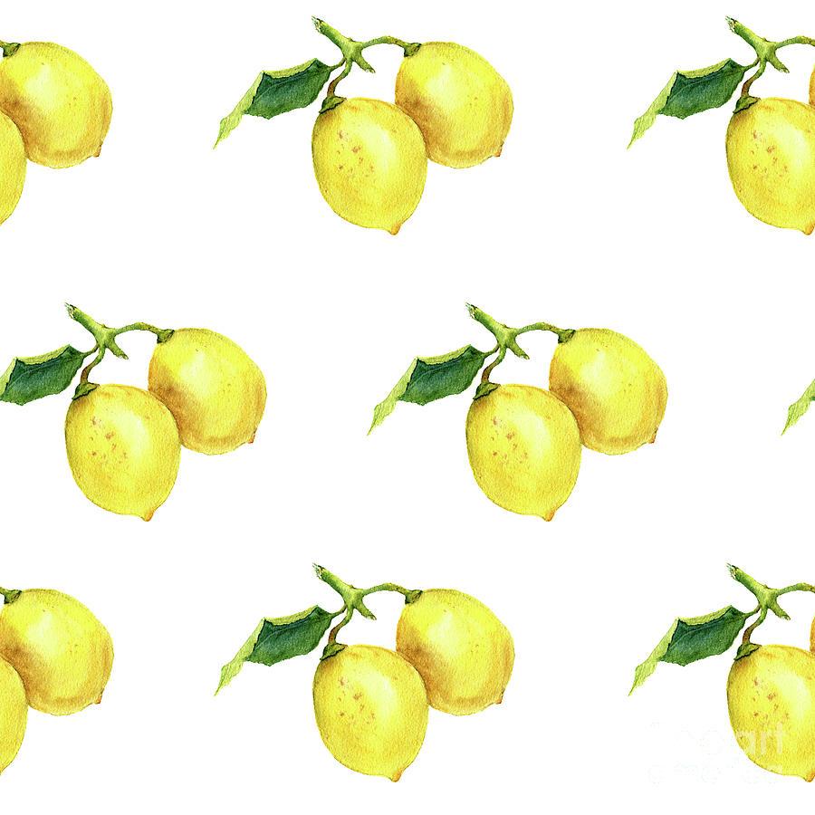 Watercolor Pattern With Lemons Digital Art by Yuliya Derbisheva