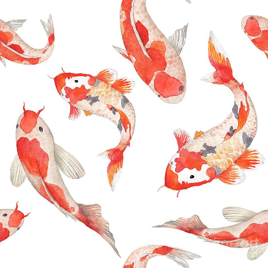 Koi Digital Art - Watercolor Rainbow Carp Pattern by Eisfrei