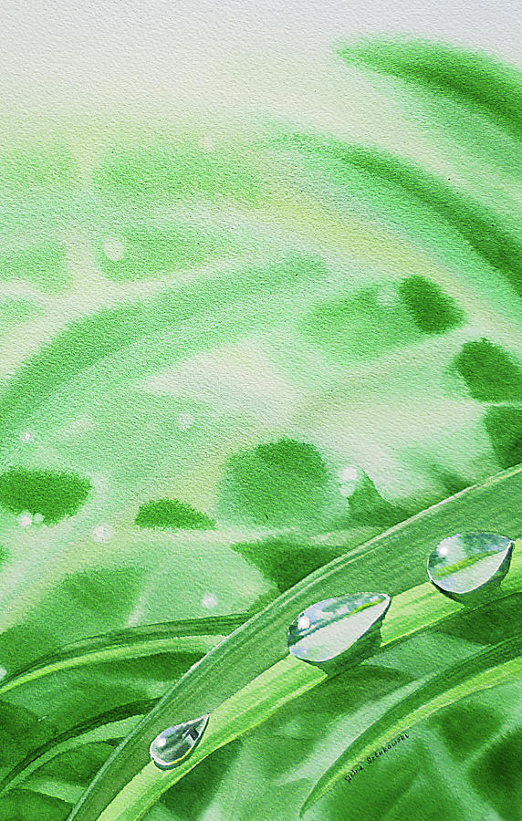 Watercolor Realism Morning Dew Drops Painting