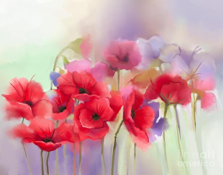 Beauty Digital Art - Watercolor Red Poppy Flowers Painting by Pluie r