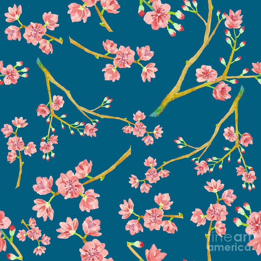 Watercolor Sakura Pattern Seamless Digital Art By Eisfrei