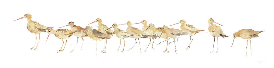 Animals Painting - Watercolor Sandpipers Panel by Avery Tillmon