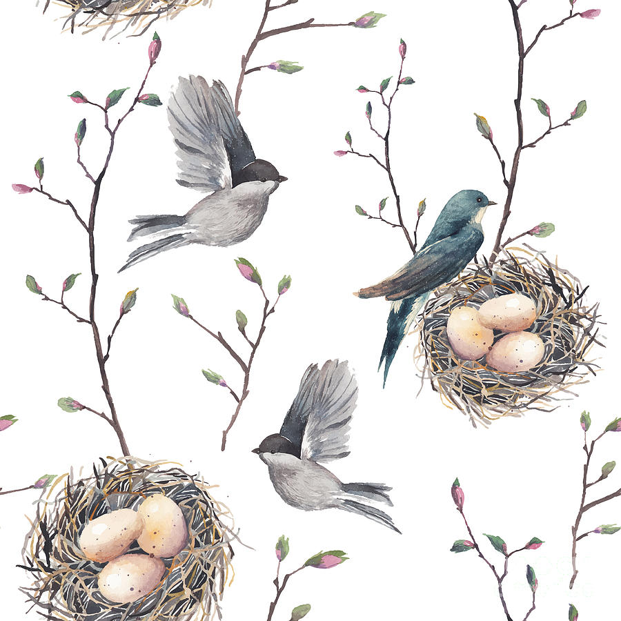 Small Digital Art - Watercolor Seamless Pattern With Nest by Eisfrei