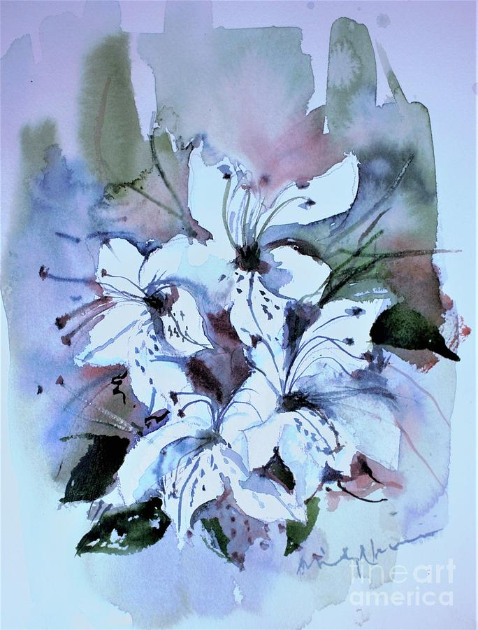 Watercolor Sketch of Azaleas by Mindy Newman