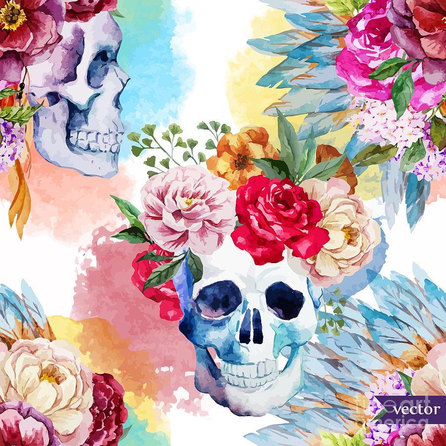 Symbol Digital Art - Watercolor, Skull, Flowers, Indian by Anastasia Lembrik