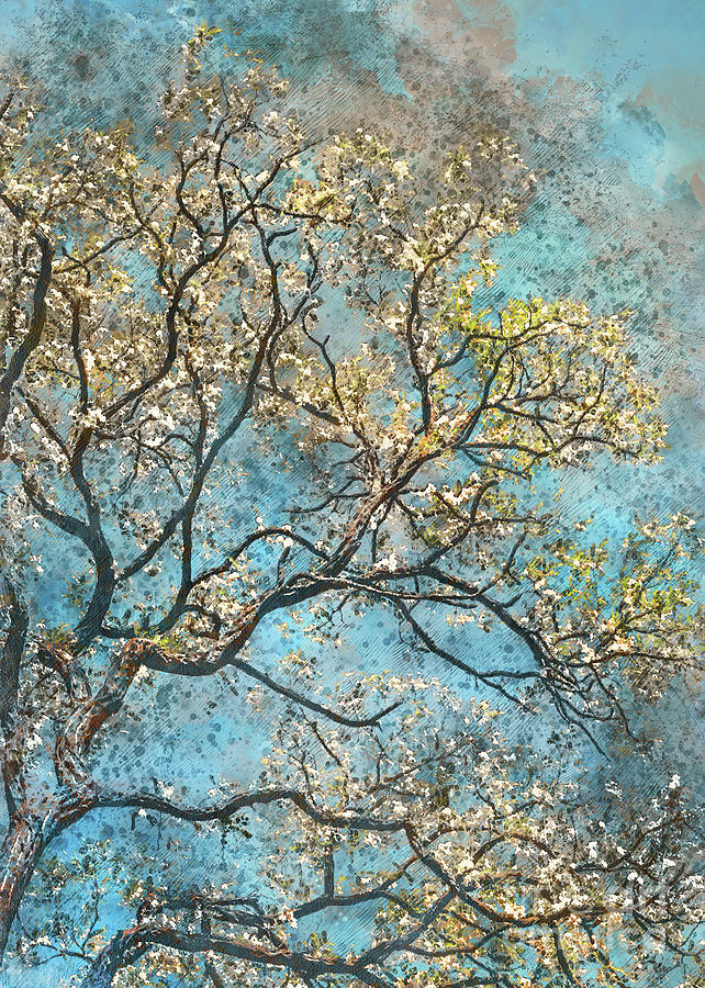 Watercolor tree on blue background by Justyna Jaszke JBJart