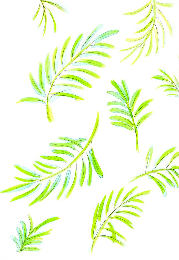 Watercolor Tropical Leaves 1 by Marianna Mills