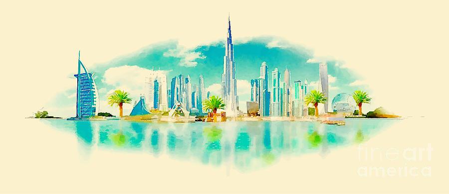 Gouache Digital Art - Watercolor Vector Panoramic Dubai by Trentemoller