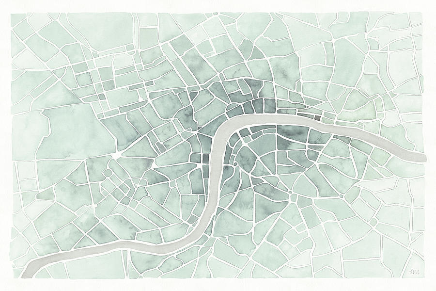 Abstract Painting - Watercolor Wanderlust London Mint by Laura Marshall