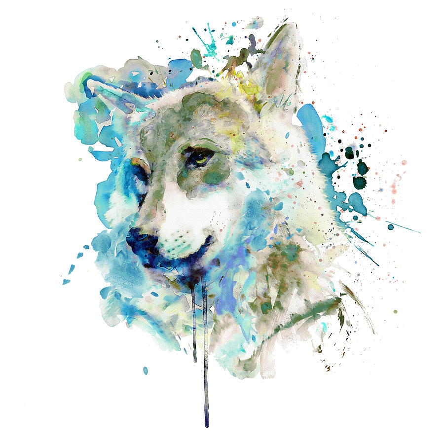 Painted Colorful Wolf Art Dripping Wild Animal Hooded Sweatshirt Hoodie