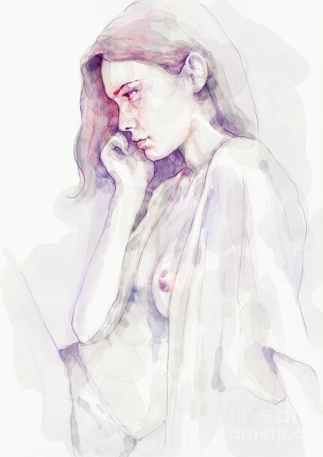 Watercolour Sensual Portrait by Dimitar Hristov