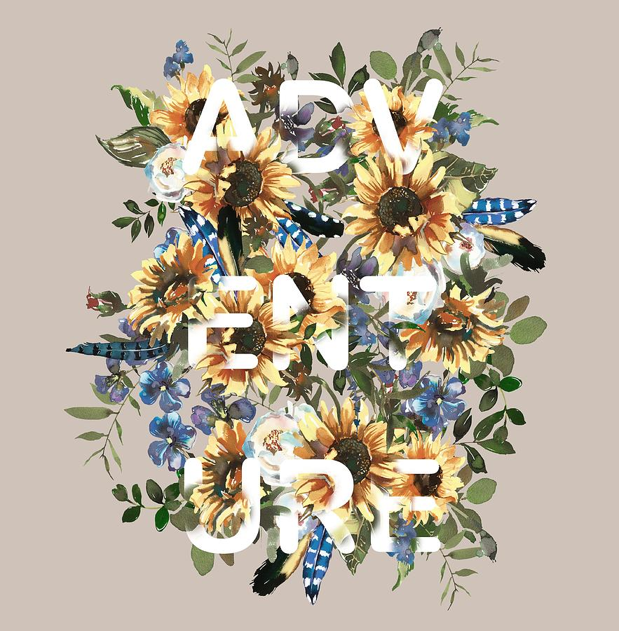 Watercolour Sunflowers Adventure typography by Georgeta Blanaru