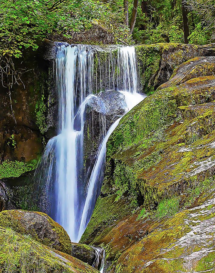Waterfall and Mossy Rocks by Douglas J Fisher