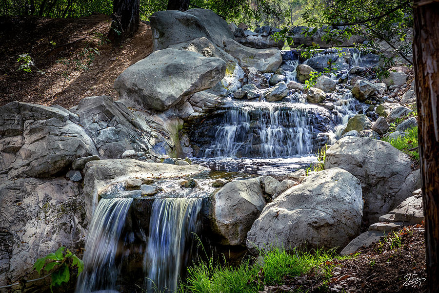 Waterfall At Descanso Gardens by Endre Balogh