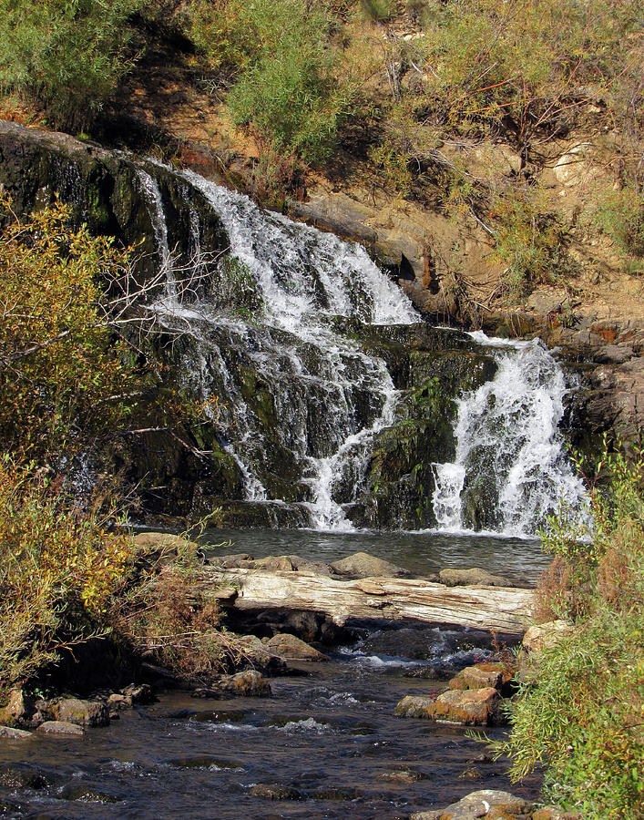 Waterfall at Tarryall Reservoir in Colorado by Julia L Wright