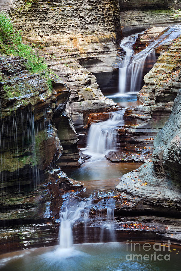 Pond Photograph - Waterfall Closeup In Woods With Rocks by Songquan Deng