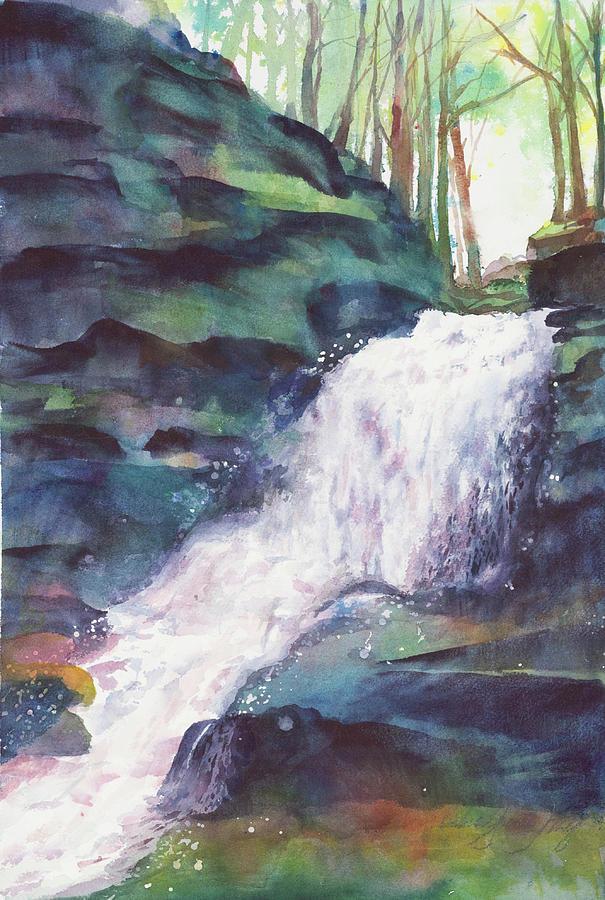 Water Falling Painting by Debra Grantz Wolf