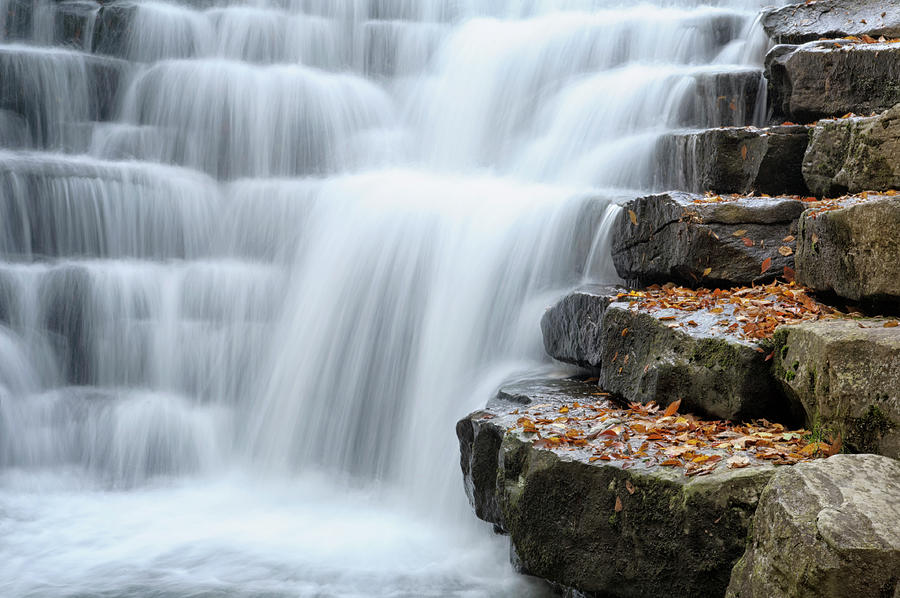 Waterfall Flowing Over Rock Stair Photograph by Catnap72