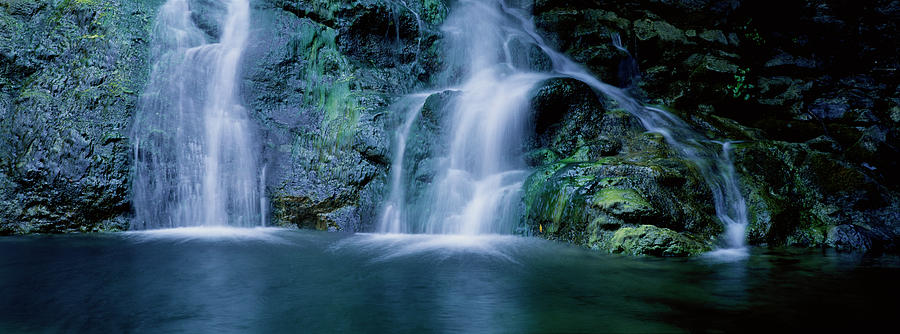 Horizontal Photograph - Waterfall In A Forest, Salmon Creek by Panoramic Images