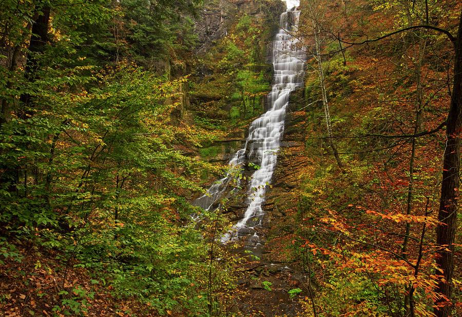 Waterfall In Autumn Woodland Photograph by Matt Champlin