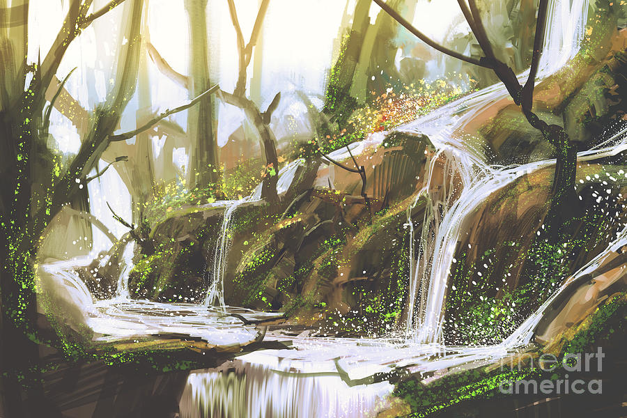 Forest Digital Art - Waterfall In Forest,illustration by Tithi Luadthong