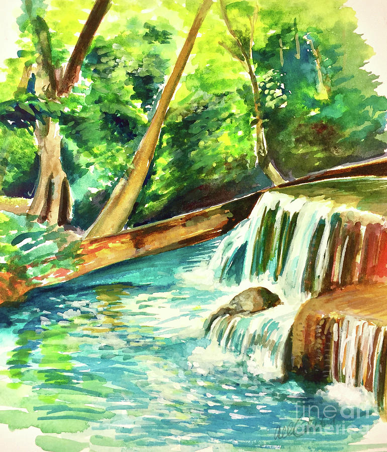 Waterfall In The Woods Painting