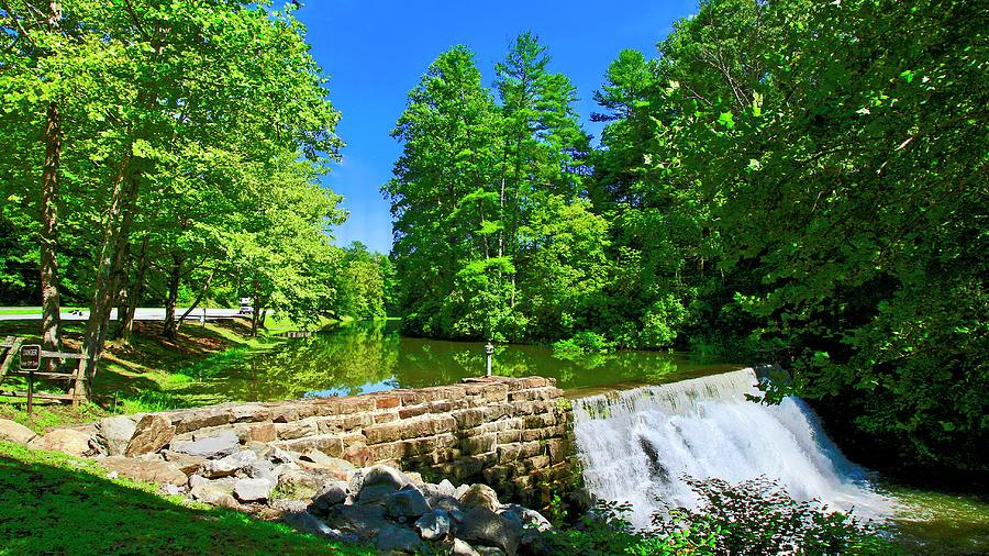 Waterfall Over Weir Dam Blue Ridge Parkway Virginia by The American Shutterbug Society