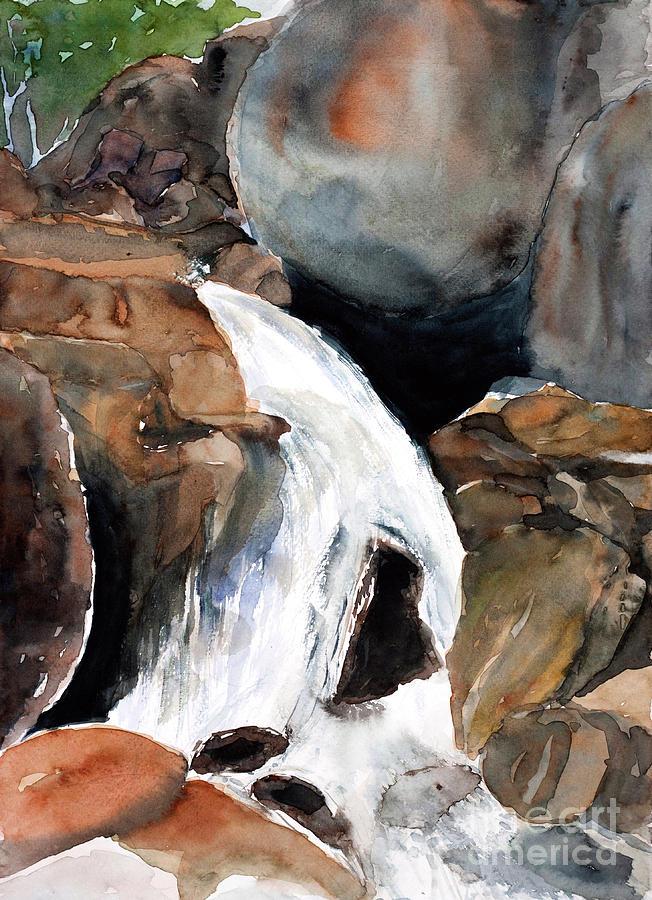 Waterfall  Watercolor Painted Digital Art by Sweetsake