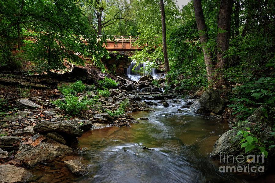 Bridge Photograph - Waterfall With Wooden Bridge by Joe Sparks