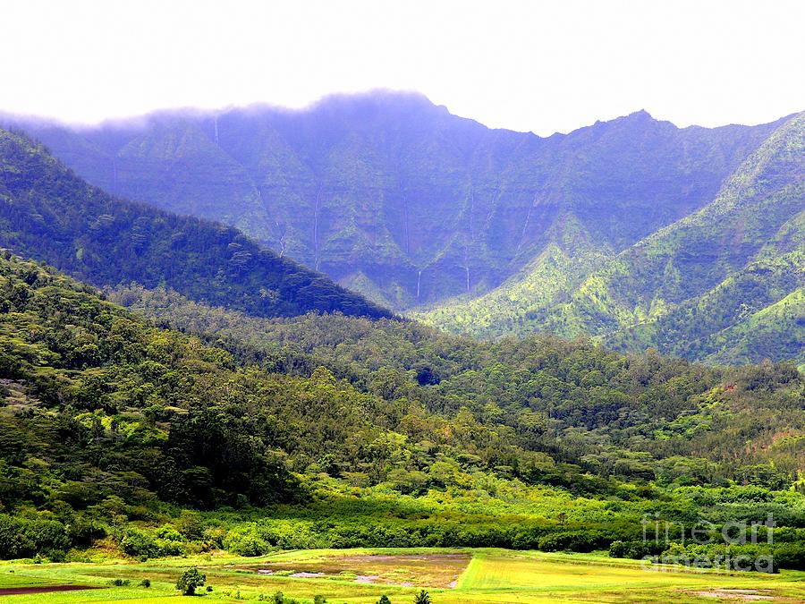 Waterfalls On The Hanalei Mountains by Mary Deal