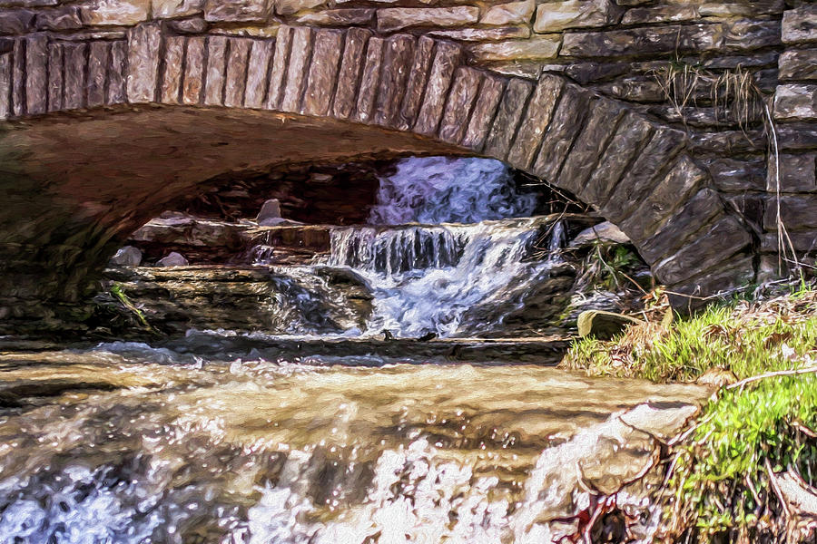 Waterfall Photograph - Waterfalls Through Stone Bridge by Chic Gallery Prints From Karen Szatkowski