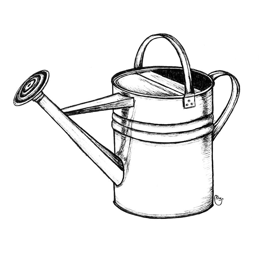 Watering Can Drawing - Watering Can by Bari Rhys