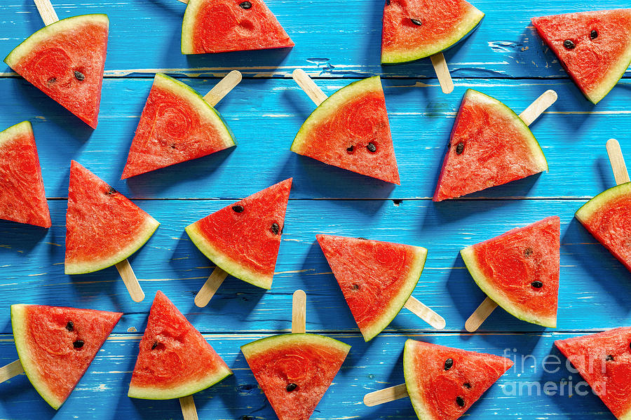 Ice Photograph - Watermelon Slice Popsicles On A Blue by I Am Kulz