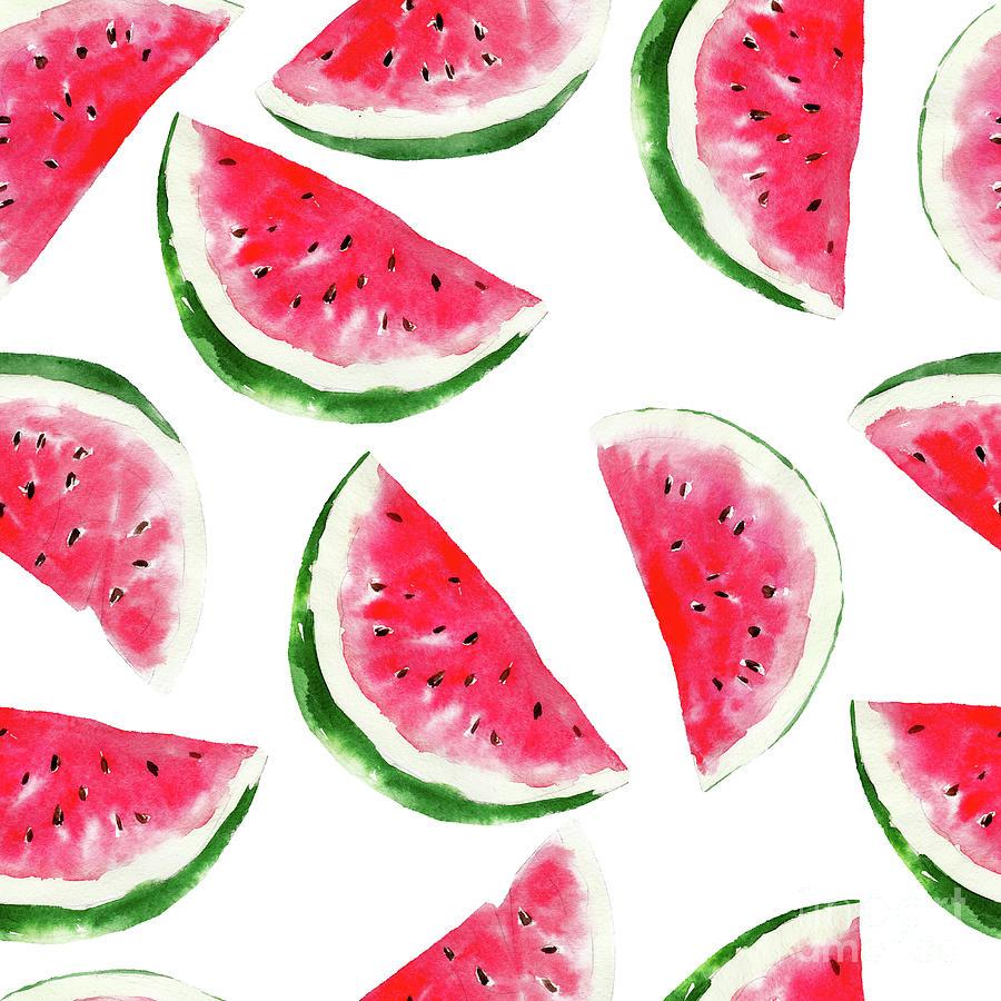 Watermelon Watercolor Seamless Pattern Digital Art by Viktor Kashin