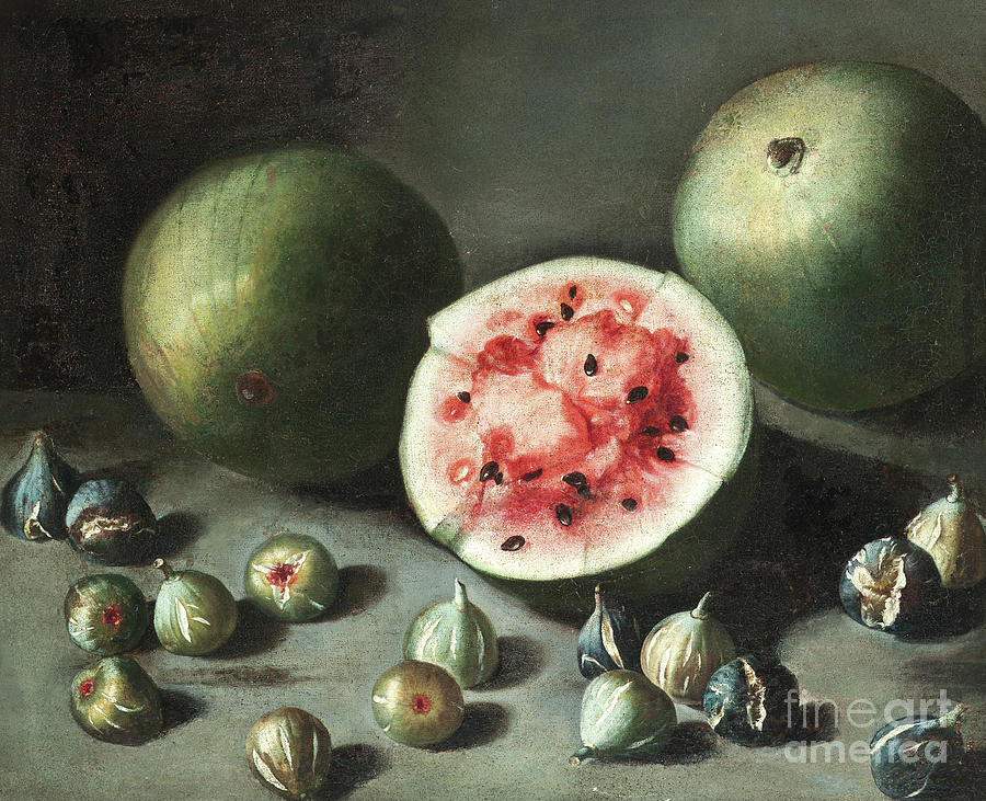 Watermelon Painting - Watermelons And Figs On A Stone Ledge  by Neapolitan School