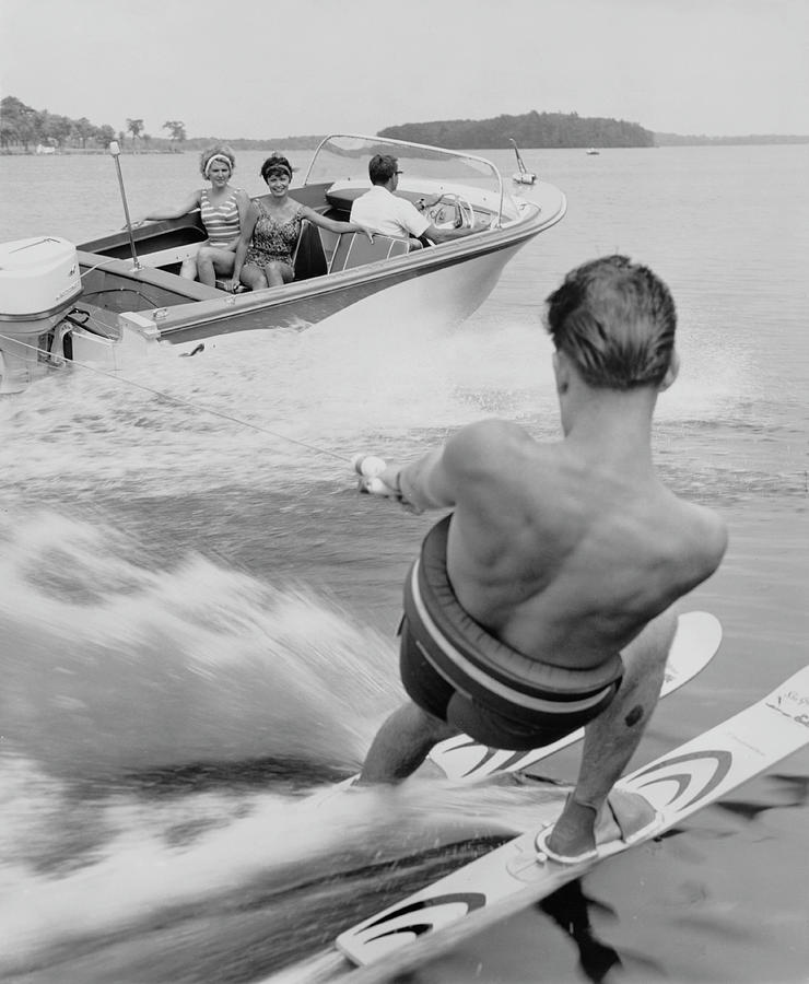 Waterskier And Towboat Photograph by Archive Photos