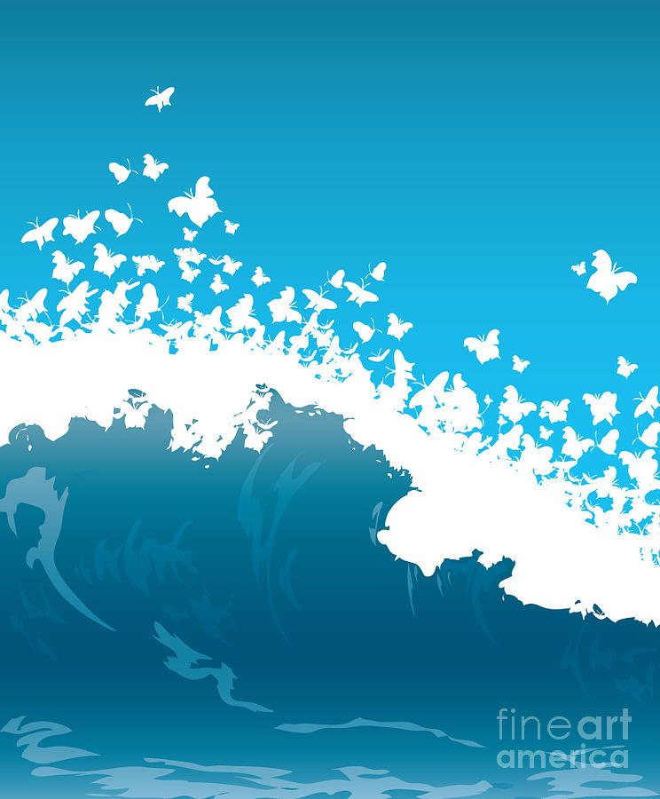Scenic Digital Art - Wave Illustration by Mire