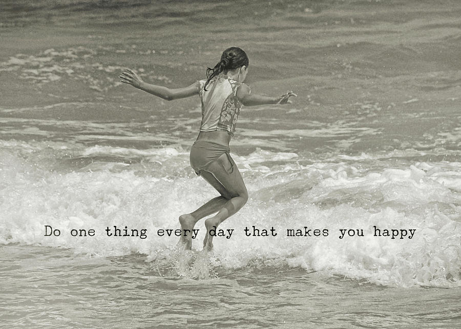 Beach Photograph - Wave Jump Quote by JAMART Photography