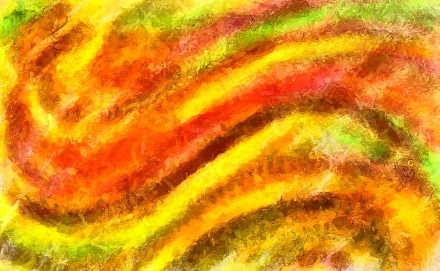 Wavelings - Red and Yellow Waves Abstract by Caito Junqueira
