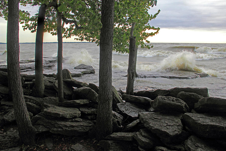 Lake Erie Photograph - Waves against the Rocky Shore by Angela Murdock